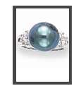 Tahitian Pearl Ring with Diamonds 18K White Gold